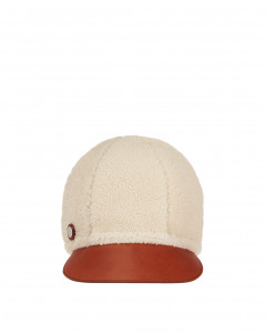SHEARLING AND LEATHER CAP
