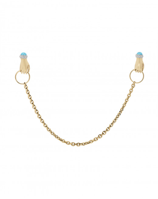 KNOCK EARRING WITH CHAIN