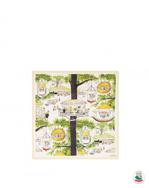 BABAR FOREST PRINT SILK SQUARE SCARF