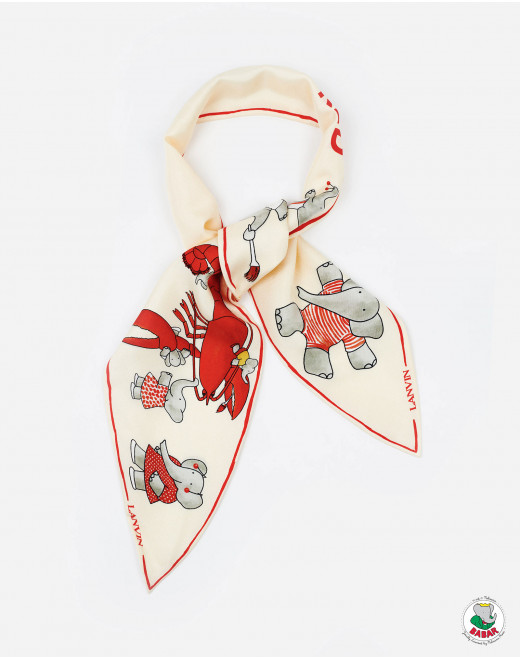 BABAR RED PRINT SILK SCARF