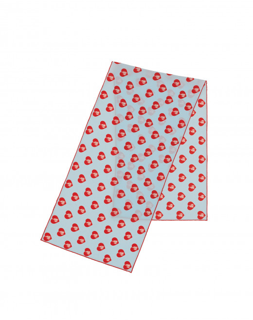 HEART PRINT RECTANGULAR SILK SCARF
