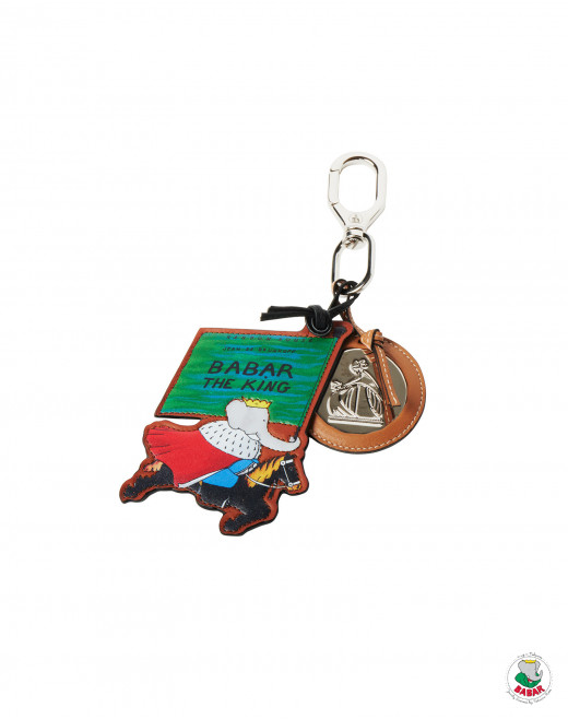 LEATHER BABAR THE KING KEY RING