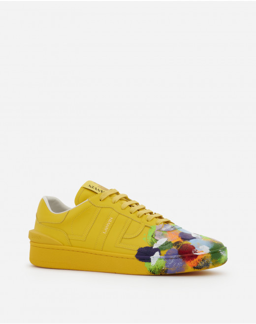 PAINTED CALFSKIN LEATHER CLAY LOW-TOP SNEAKERS