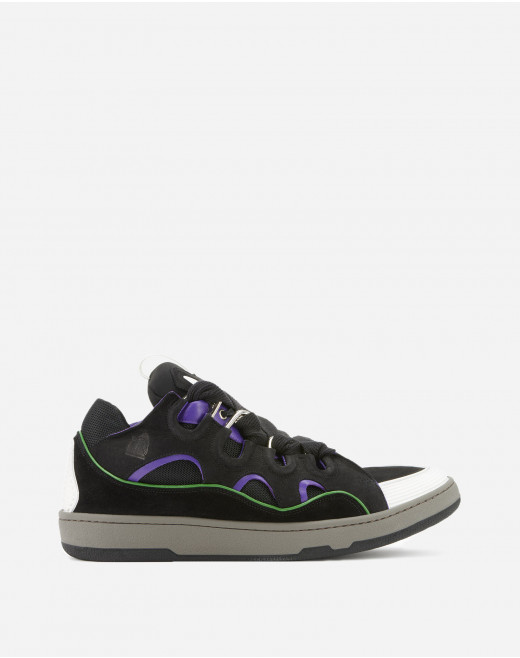 LEATHER CURB TRAINERS