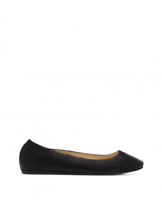 NAPPA AND PATENT CALFSKIN LEATHER BALLERINAS