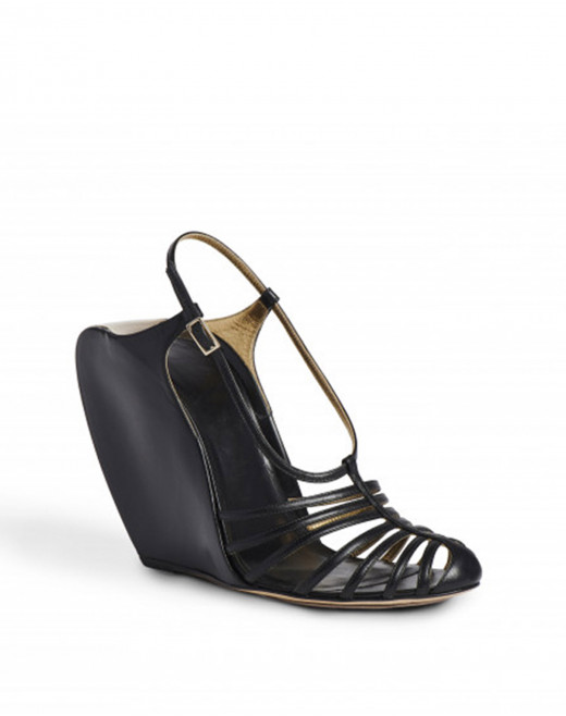 LEATHER WEDGE J SANDALS