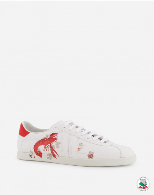 BABAR RED PRINT LEATHER GLEN SNEAKERS