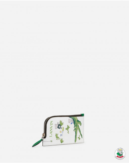 NECKLACE CARD HOLDER IN  LEATHER WITH BABAR GREEN PRINT