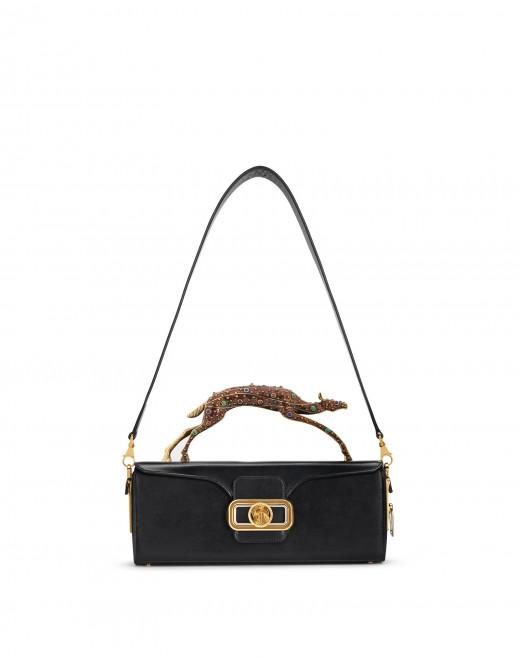 PENCIL DOE BAG IN BOX CALF WITH GEM-SET HANDLE