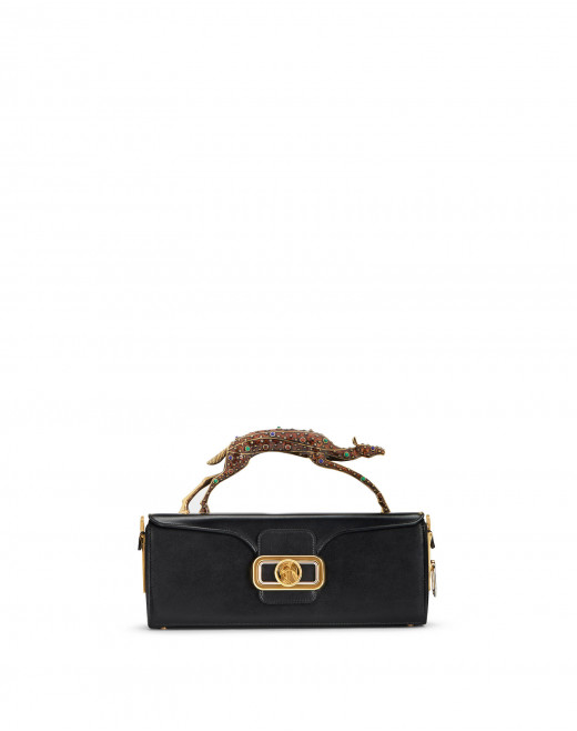 PENCIL DOE BAG IN BOX CALF WITH GEM-SET HANDLE