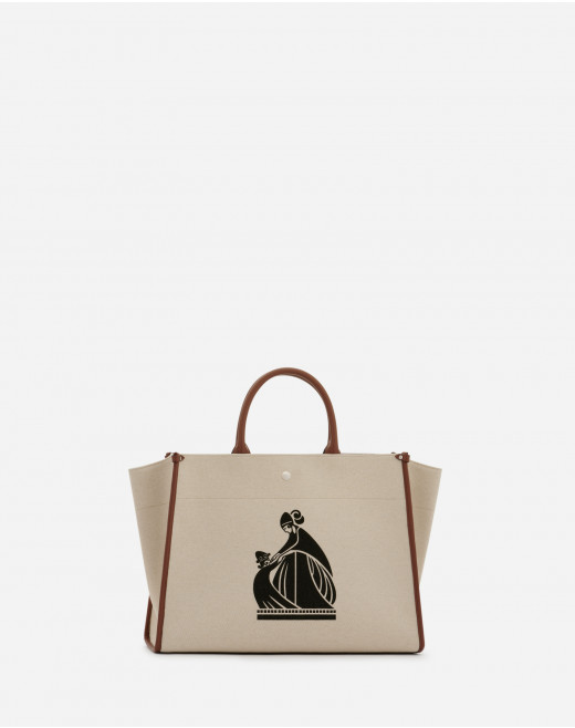 PRINTED CANVAS IN&OUT BAG MM