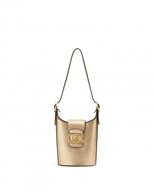 LAMINATED LEATHER SWAN BUCKET BAG