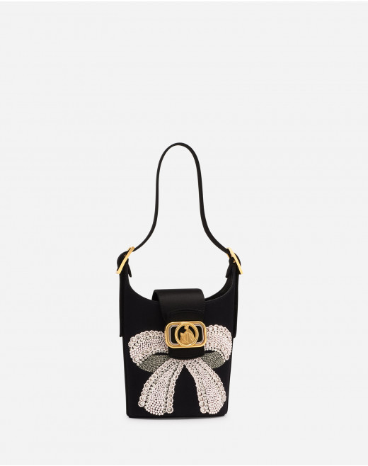SATIN SWAN BUCKET BAG WITH BOW BEADS EMBROIDERIES