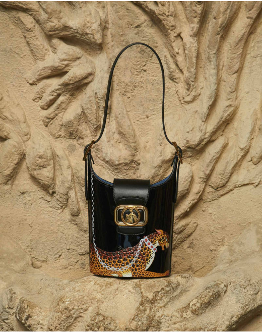 LEOPARD PRINT PATENT LEATHER SWAN BUCKET BAG
