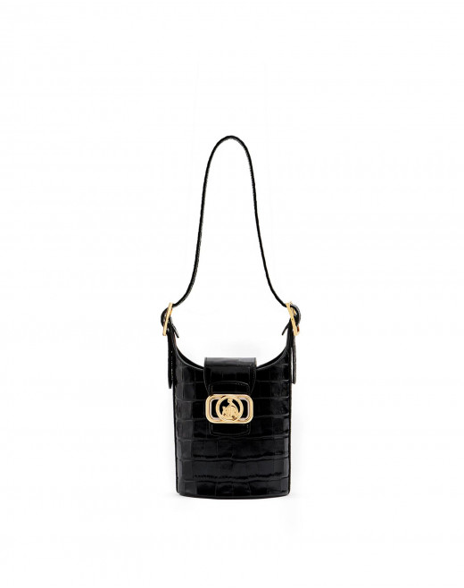 SWAN BUCKET BAG IN EMBOSSED LEATHER
