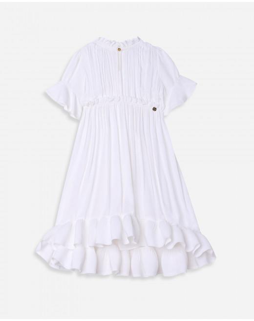 CHILD SHORT SLEEVE CHARMEUSE RUFFLE DRESS