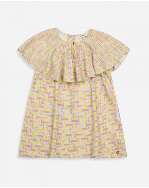 CHILD SILK TWILL JL MAZE PRINT DRESS