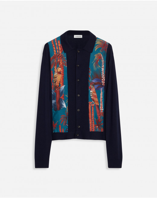 CARDIGAN IN MERINO WOOL AND PRINTED SILK