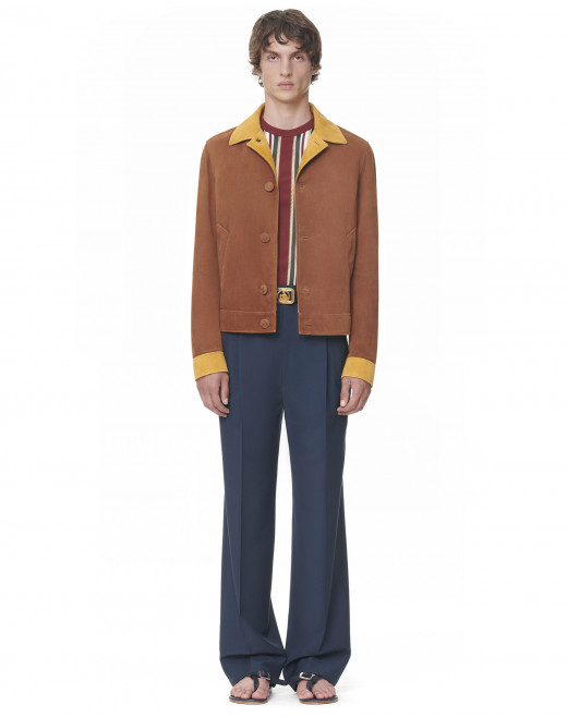 SUEDE LEATHER BUTTONED BLOUSON