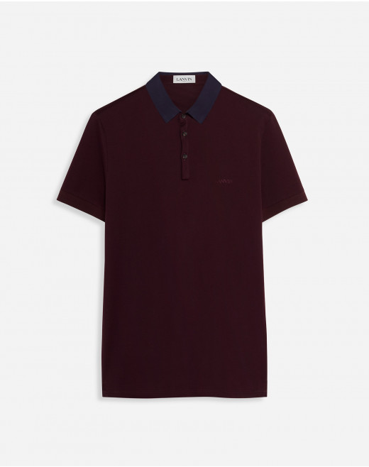 LANVIN EMBROIDERED POLO WITH GROSGRAIN COLLAR