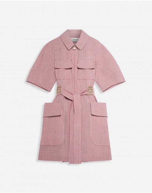 SAFARI JACKET DRESS WITH ZIP COLLAR