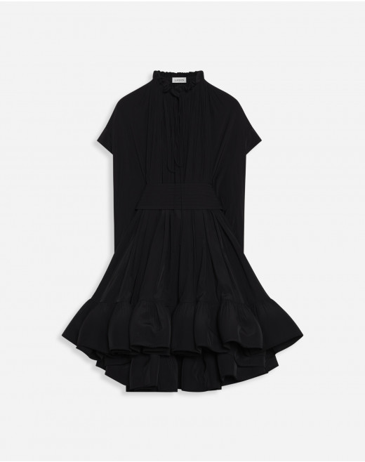 BELTED SHORT CHARMEUSE DRESS