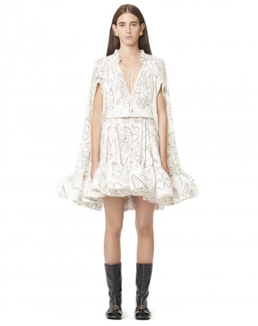 SHORT BELTED RUFFLE DRESS