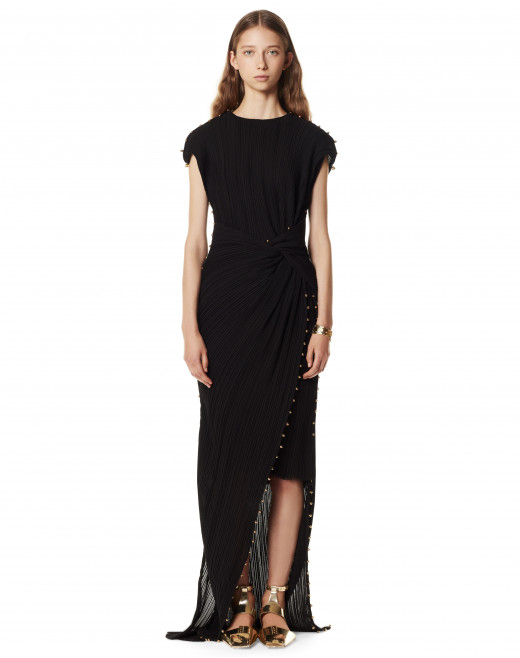 LONG DRAPED DRESS WITH ARPEGE BEADS