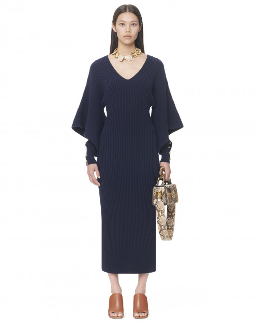 CASHMERE AND WOOL DRESS WITH CUTOUT SLEEVES