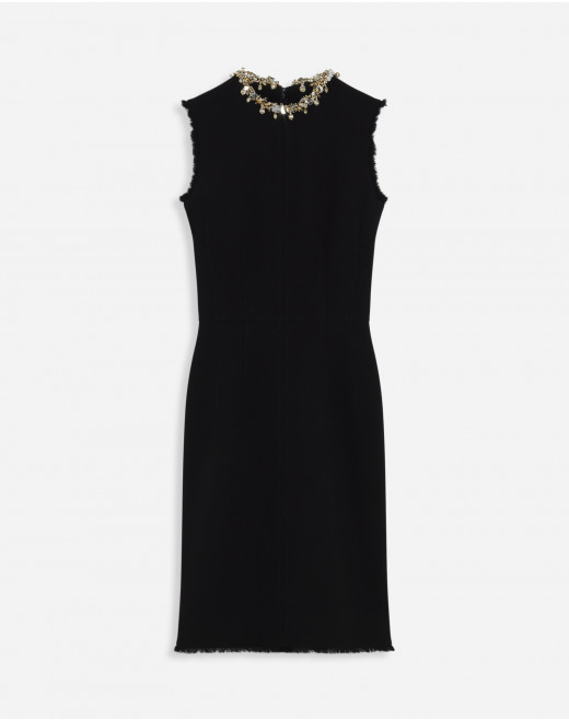 FITTED DRESS WITH EMBROIDERED COLLAR