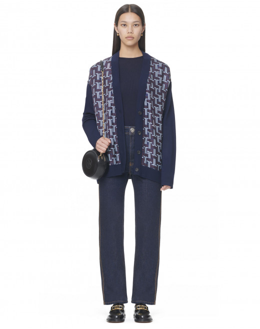 V-NECK CARDIGAN WITH FRONT PRINTED SILK PANELS