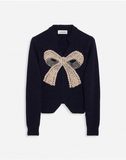EMBROIDERED JUMPER IN BABY ALPACA, CASHMERE AND SILK