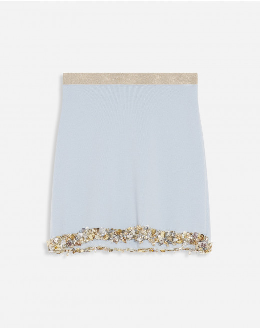 MINI KNIT SKIRT WITH EMBROIDERED BRAID