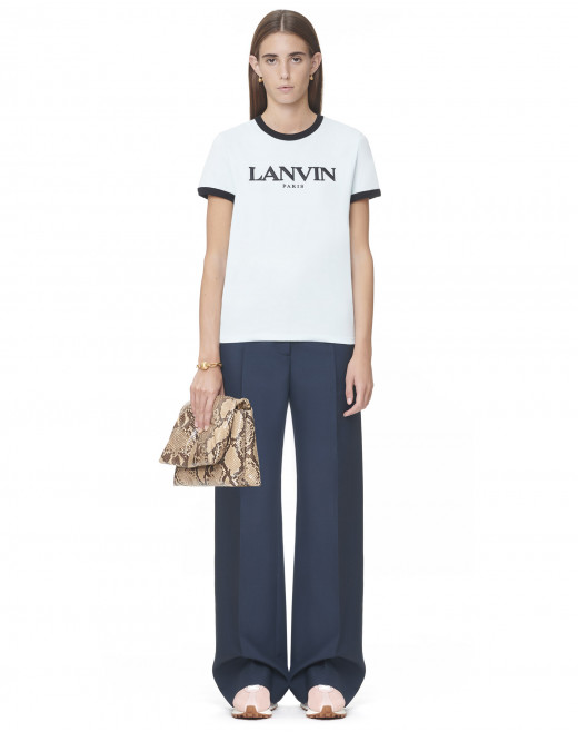 LANVIN EMBROIDERED T-SHIRT WITH CONTRASTING EDGES