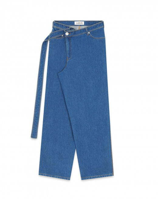 LARGE BEALTED DENIM TROUSERS