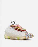 PAINTED LEATHER CURB SNEAKERS