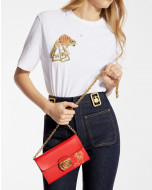 SWAN WALLET ON CHAIN IN LEATHER WITH GOLDFISH PRINT