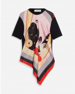 TOP WITH PRINTED SILK FRONT